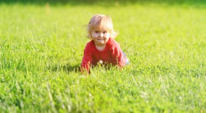 cute little girl learning to crawl on summer lawn